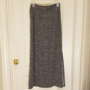 Gray long maxi skirt with a side slit, M
